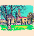 painting of kamenetz-podolsky famous town vector image vector image