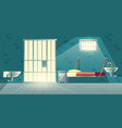 prison single cell interior cartoon vector image vector image