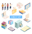 Reading isometric icons set vector image
