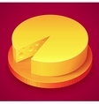 Round yellow cheese on wooden plate vector image