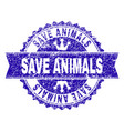 scratched textured save animals stamp seal with vector image vector image