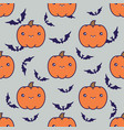 seamless halloween pattern with pumpkins on grey vector image vector image