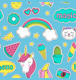 seamless pattern with cute stickers for girl vector image vector image