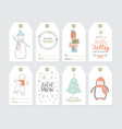 set cute christmas gift tags in hand drawn vector image