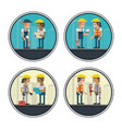 set of geometric workers cartoons vector image