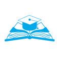silhouette cap graduation over open book vector image