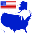 silhouette map and flag usa vector image vector image