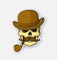 skull gentleman with mustache smoking pipe hat vector image