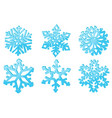snowflakes set of blue 3d winter symbols vector image