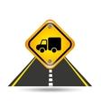 truck yellow road street sign vector image vector image