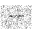 Vegetarianism colorless set vector image
