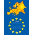 2014 calendar with europe map vector image