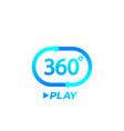 360 degrees video play icon logo