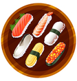 A topview of the different flavors of sushi vector image vector image