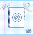 address book line sketch icon isolated on white vector image