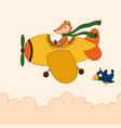 awesome cartoon fox flying on the airplane vector image vector image