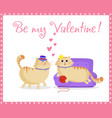 be my valentine greeting card with cute cats in vector image