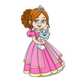 beautiful princess holding kitten on hands vector image