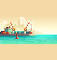 cargo seaport on metropolis harbor cartoon vector image