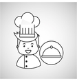 cartoon chef gourmet tray food vector image