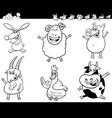 Cartoon farm animals collection color book
