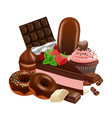 chocolate desserts collection realistic cupcake vector image vector image