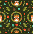 christmas seamless pattern with cute fox vector image vector image