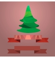 Christmas tree ribbon retro color coral vector image vector image
