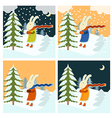 Cold winter with freezing hare vector image vector image