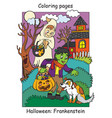 colorful halloween cute little frankenstein and vector image vector image