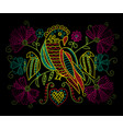 colorful neon embroidery pattern with birds and vector image vector image