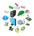 computer service icons set cartoon style vector image vector image