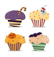 cupcake happy halloween scary sweets vector image vector image