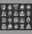 dia de los muertos monochrome emblems vector image vector image