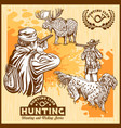 elk hunting and hunting dog vector image vector image