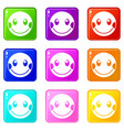 embarrassed emoticons 9 set vector image vector image