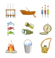 Fishing And Camping Equipment Set vector image vector image
