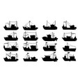 fishing boat silhouette set vector image