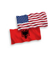 flags albania and america on a white background