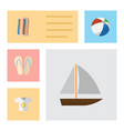 flat icon summer set of beach sandals wiper vector image vector image