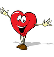 funny heart cartoon standing with open arms vector image vector image