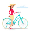 Girl on Bike isolated on white background in flat vector image vector image