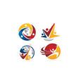 global leadership teamwork solutions set vector image vector image