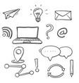 Hand draw business doodles digital platformsocial