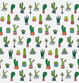 hand drawn tropical cactus pattern vector image vector image