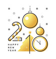 happy 2018 new year flat thin line vertical gold vector image vector image