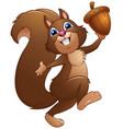 happy cartoon squirrel holding acorn vector image vector image