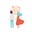 happy couple watching explosion of colourful vector image vector image