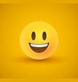 happy smile yellow emoticon face in 3d background vector image