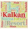 Kalkan Holiday Resort in Turkey text background vector image vector image